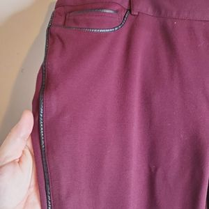 Burgundy and Leather trim jeggings